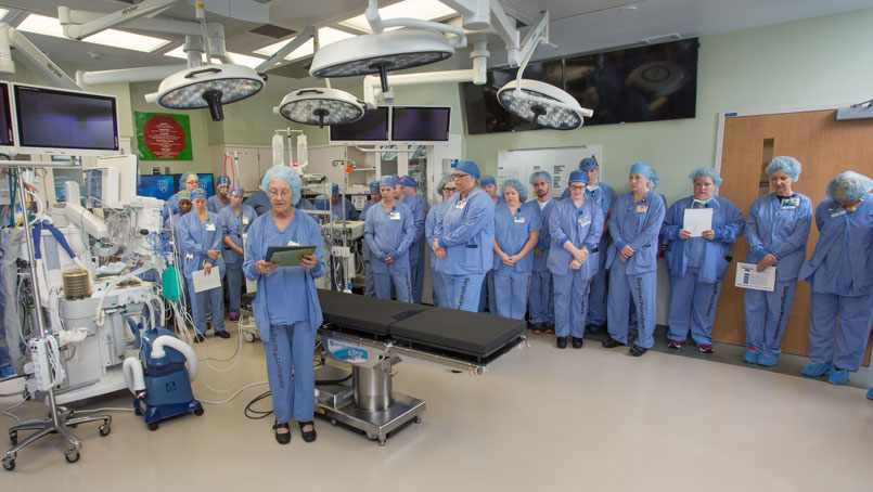 Staff pause for a blessing of the new Surgical Suites at the Saint Marys campus.