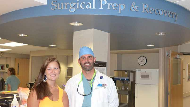Carlee Jo Vonderheid with Dr. Mark Herr. Carlee Jo will participate in the Medical Experience program this summer.