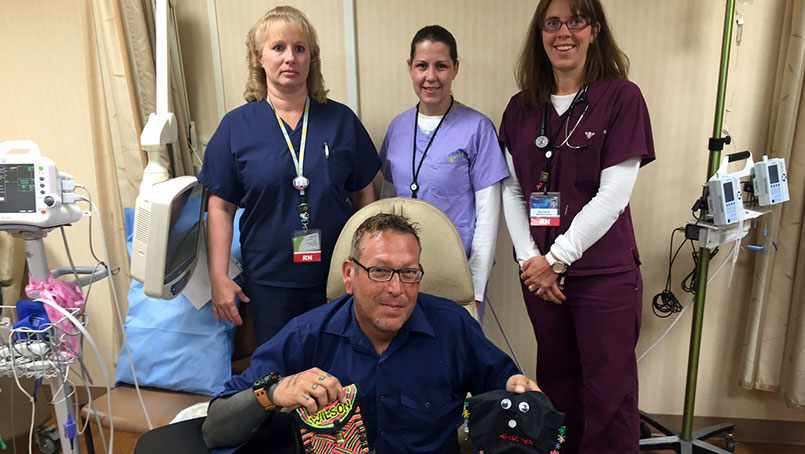 Chemotherapy nurses designed infusion bags for Steve Hofstede.