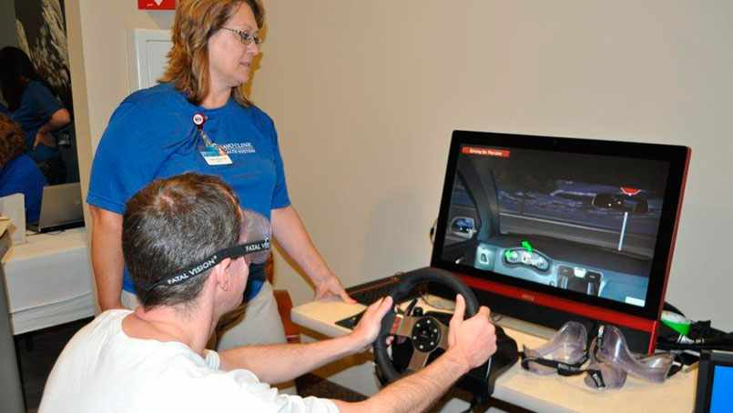Peggy Sue Garber, trauma and injury prevention coordinator at Mayo Clinic Health System in Mankato, is taking the simulator on the road to demonstrate how dangerous it is to drive while distracted.
