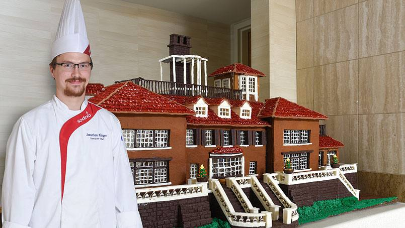 Chef Jonathan Klinger put building materials of gingerbread, licorice, chocolate and icing to impressive use in his confectionary creation. His replica of the historic Mayowood mansion is at once a marvel and a temptation.