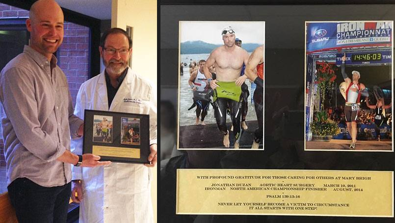 On April 3, Jonathan Duzan brought a framed collage to inspire other cardiac surgery patients at Saint Marys.