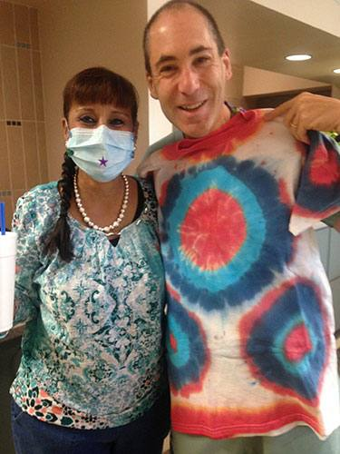 Tessie made Andrew Singer, M.D., Ph.D., a tie-dye T-shirt for his collection.