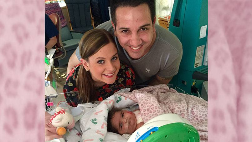 Jordan and Katelyn with daughter Jett as they wait for a heart transplant.