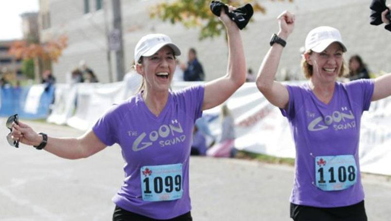 Sisters, Jennifer Meyer and Joanne Mihm, encourage all Mayo staff who will be running the Twin Cities Marathon to register for the Corporate Team Challenge.