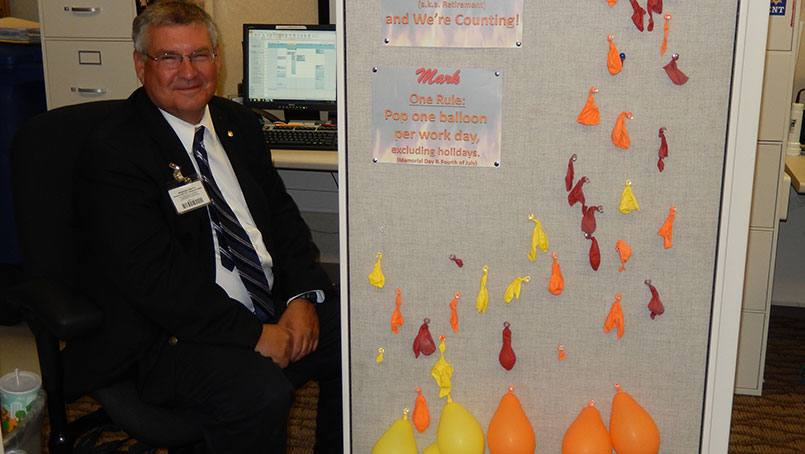 Mark Bilderback of Emergency Management is an enthusiastic organizer of fire drills.