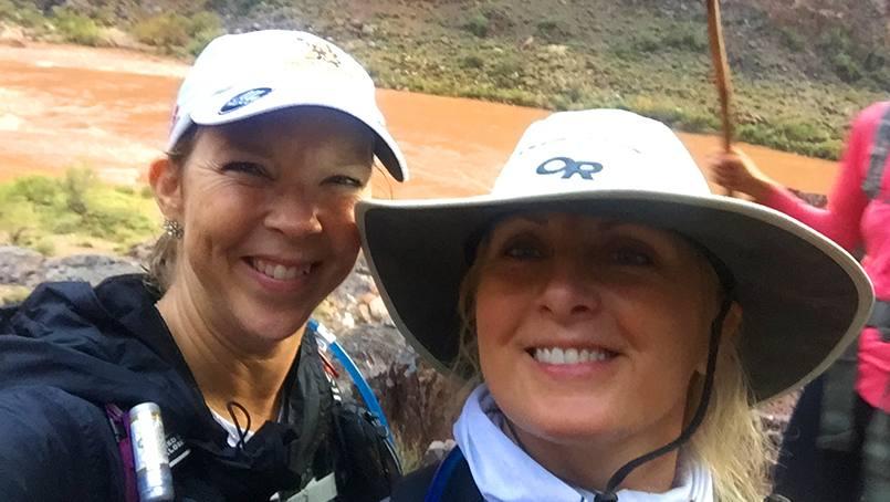 Kristin Salzman and Jenny Kollach crossing the Grand Canyon.
