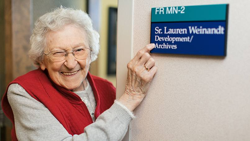 After 60 years of service, Sister Lauren Weinandt has finally gotten her own Mayo Clinic-issued nameplate for her office at Saint Marys.