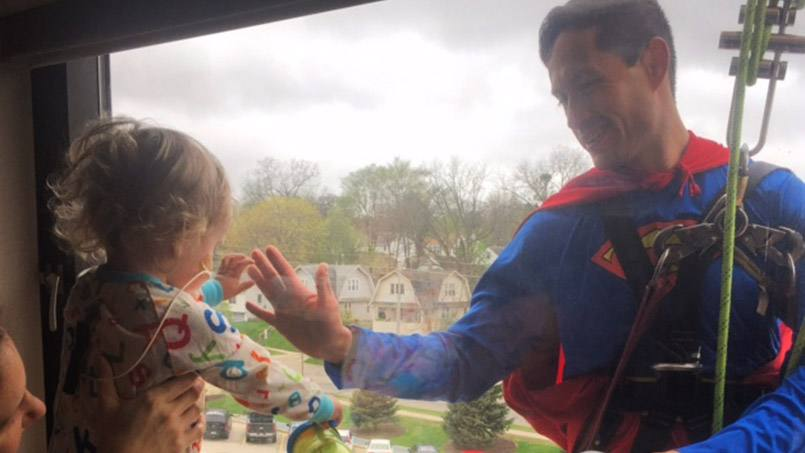 Superman recently took a break from fighting crime — and washing windows at Saint Marys — to touch the life of one very special young cancer patient.