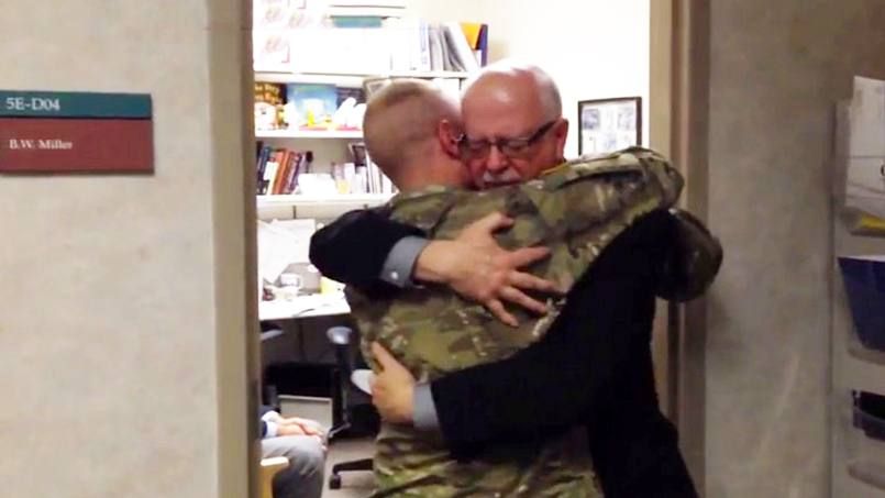 Bernie and Mason Miller reuniting on Mason's return from Afghanistan.