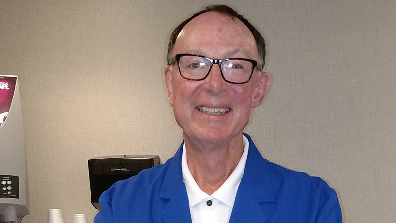 After having received 25 years of care at Mayo Clinic's campus in Rochester that included two major surgeries and 30 rounds of radiation to treat a cancerous tumor on his saliva glands, John McKee wanted to show his gratitude for that care by becoming a Mayo Clinic volunteer. And he's now made that happen.