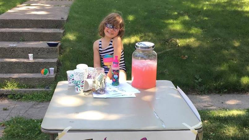 From a distance, the lemonade stand four-year-old Emmy Weidmann put up outside her Twin Cities home one day this past summer looked like any other neighborhood lemonade stand. But young Emmy's stand had one clear-cut difference, and purpose: To raise money for Mayo Clinic's Pediatric Ophthalmology Department where she herself is a patient.