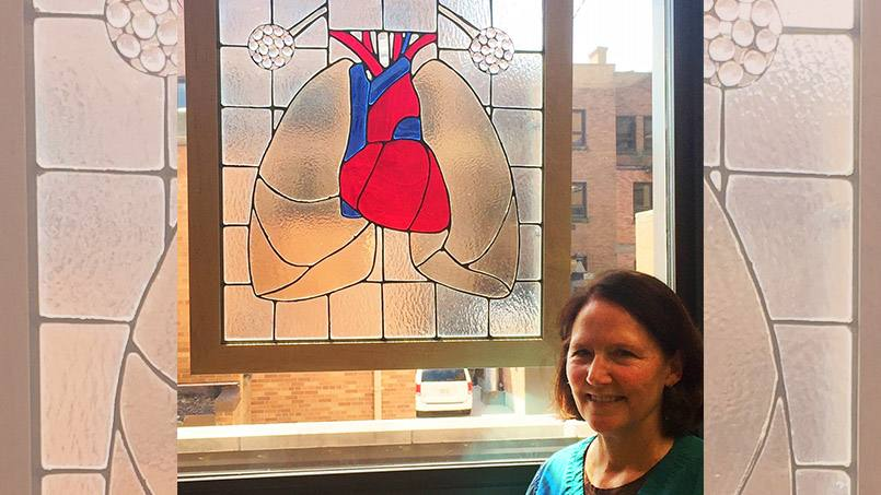 When the Dept. of Pulmonology and Respiratory Care at Mayo Clinic Health System in Eau Claire moved into a newly redesigned space with a window in its Pulmonary Function Testing Room, lead respiratory therapist, and stained glass artist, Maureen O'Donnell knew just how to decorate it for their patients.