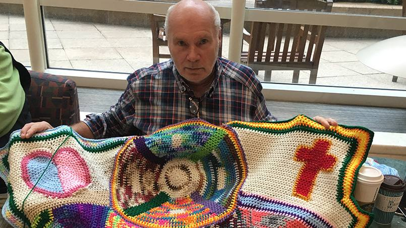 Bill Schluter is likely one of the last people you'd expect to know his way around a crocheting needle. But for the past five years, that's exactly what Bill's been doing after his doctors at Mayo suggested the repetitive movements of crocheting might aid in the recovery of the short-term memory loss he suffered after a serious injury.
