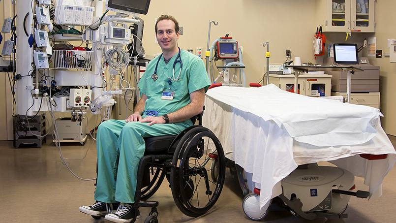 After Daniel Grossman, M.D., was paralyzed in a biking accident, he needed to learn how to do everything, including care for patients, in a new way. He's adapted to this new reality with incredible determination, humility — and speed. Less than five months after losing the ability to walk, he's returned to work at Mayo Clinic's Emergency Department.