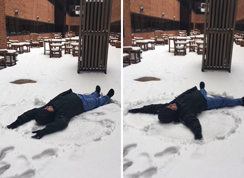 Patient Care Assistant Makes Snow Angel for Hospitalized Patient