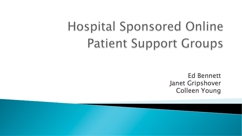 Hospital Sponsored Online Patient Support Groups