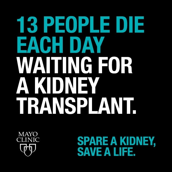 13 people die each day waiting for a kidney transplant