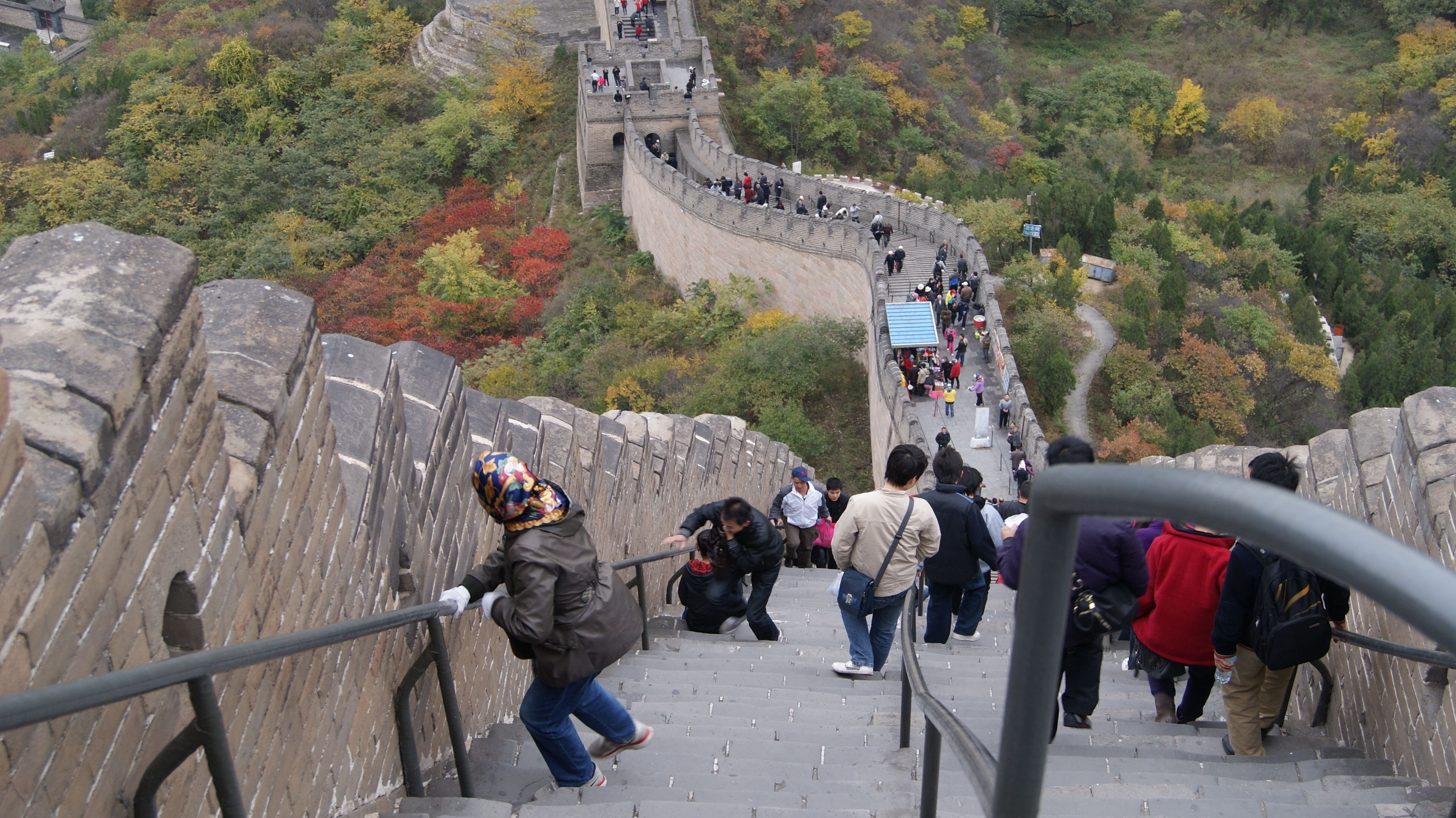 looking down the steps on the wall of china