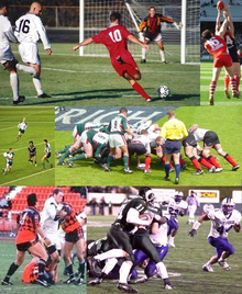 Images of football, soccer, rugby