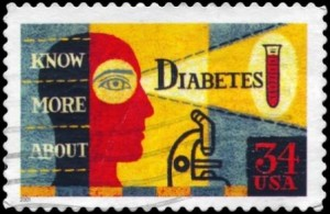 image of postage stamp that says 'diabetes'