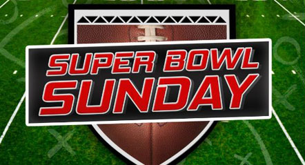 Graphic image of football with Super Bowl Sunday sign