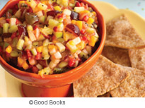 Fruit salsa on a plate of chips