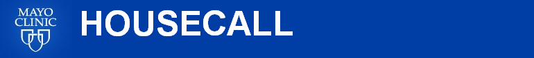 Blue and While Housecall Banner with Mayo Clinic three shields