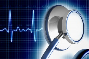 Illustration of stethoscope and heart monitor