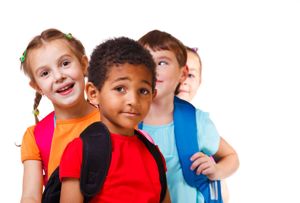 group of kids with backpacks