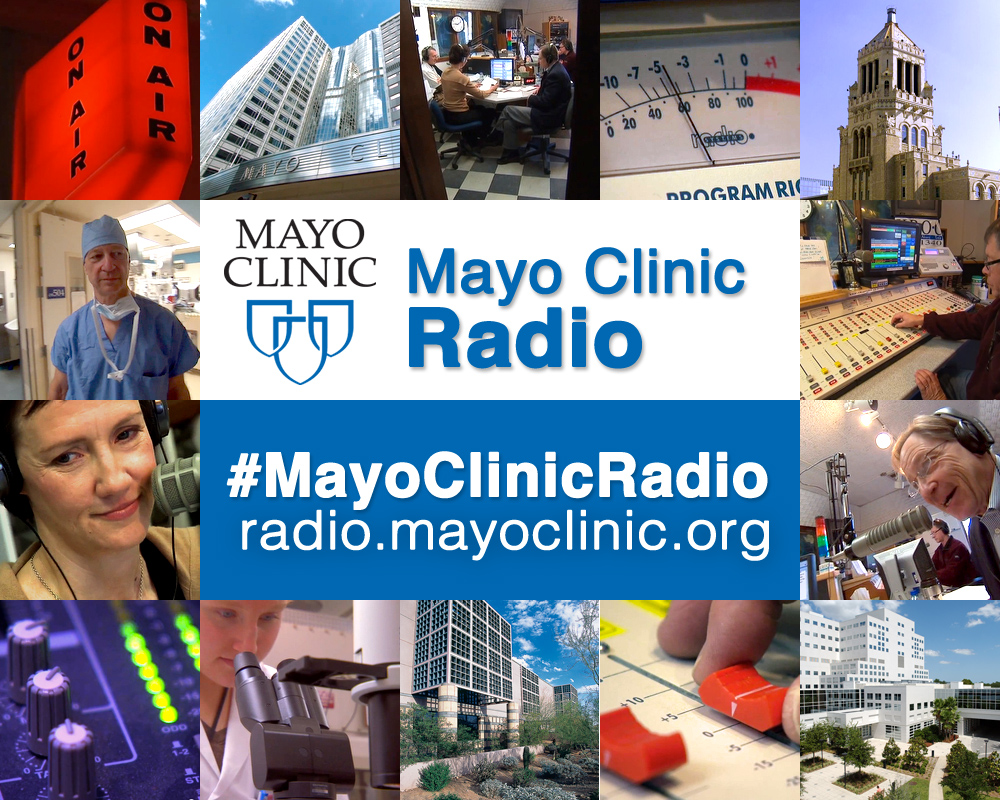 Montage of Mayo Clinic Radio photographs and logo.