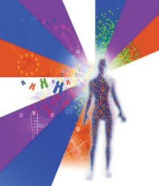 Graphic: Individualized Medicine logo with shape of human body, genomic letters and  blues, purples and oranges in the background