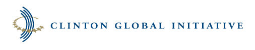 Blue, Gold and white Clinton Global Initiative logo