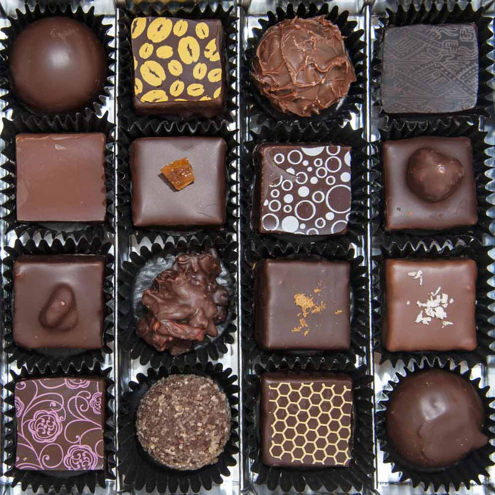 square box of a variety of chocolate candies