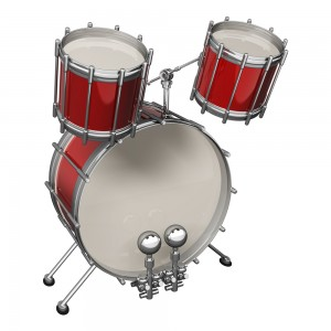 red and white drum set with three drums