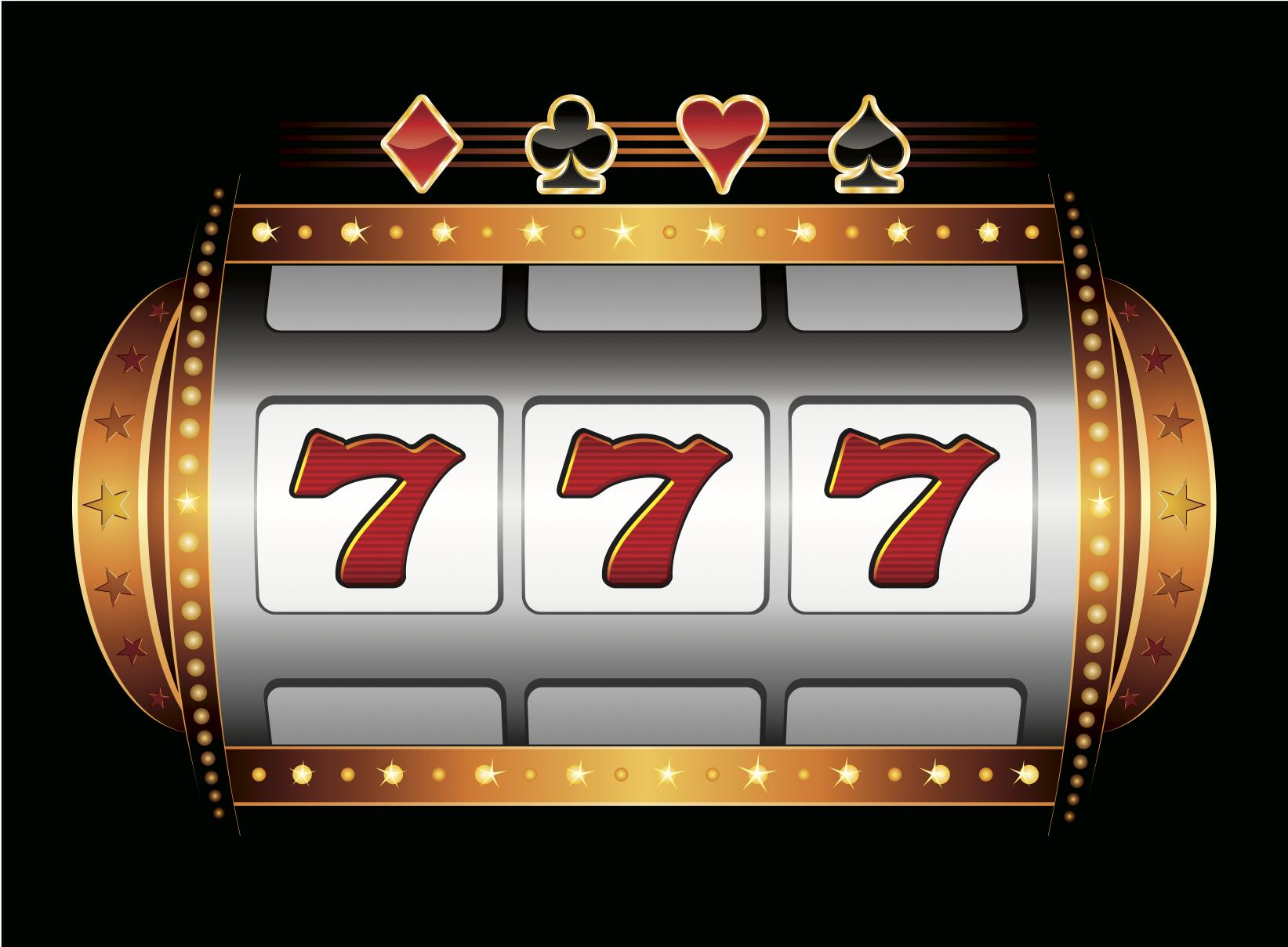 Gambling slot machine with three number 7's in the window
