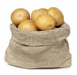 burlap sack of white potatoes