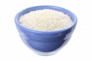 light blue ceramic bowl of cooked white rice