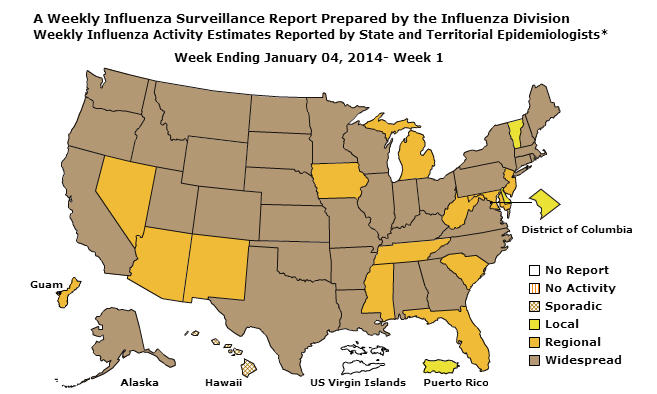 CDC Flu Map of the United State End of Week January 04, 2014