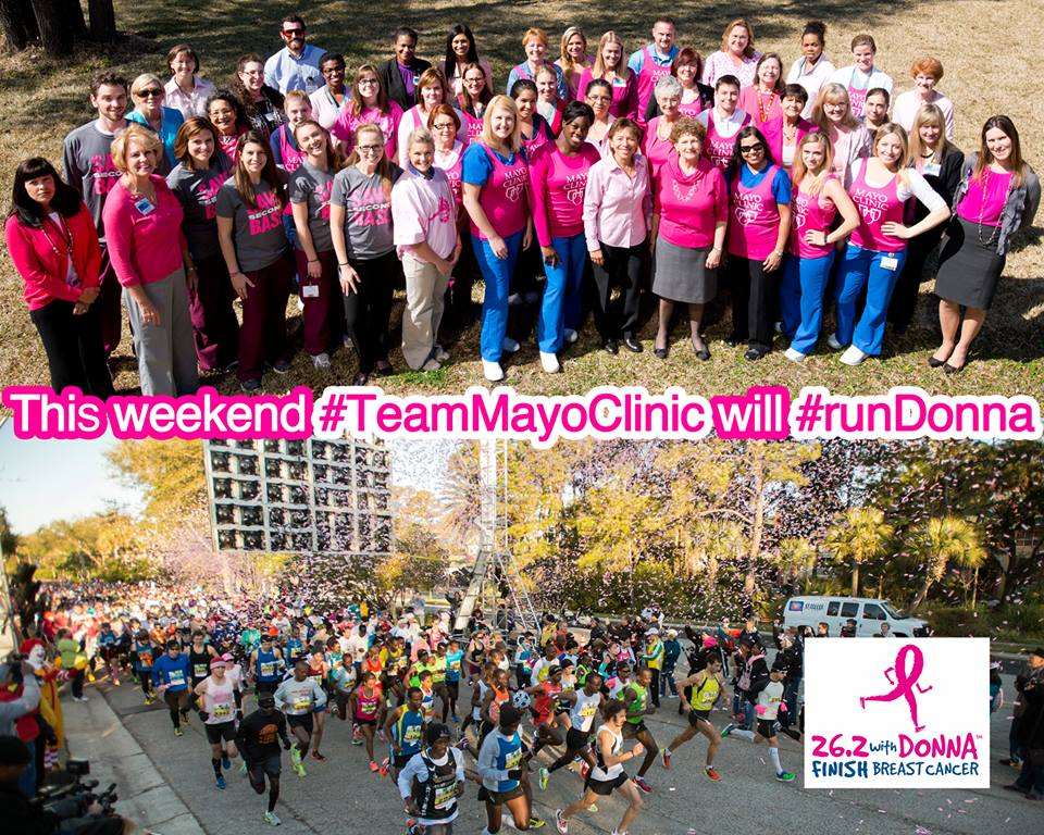 Donna Marathon picture collage with Mayo Florida team in pink