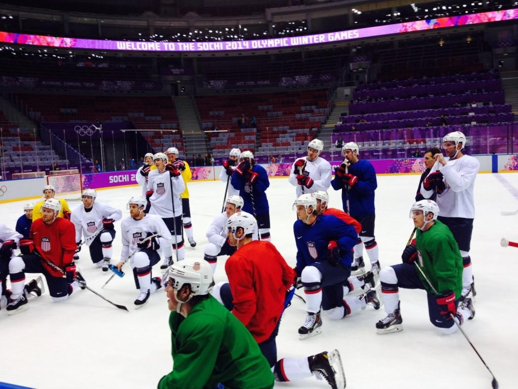 U.S. Olympic Hockey Team practice