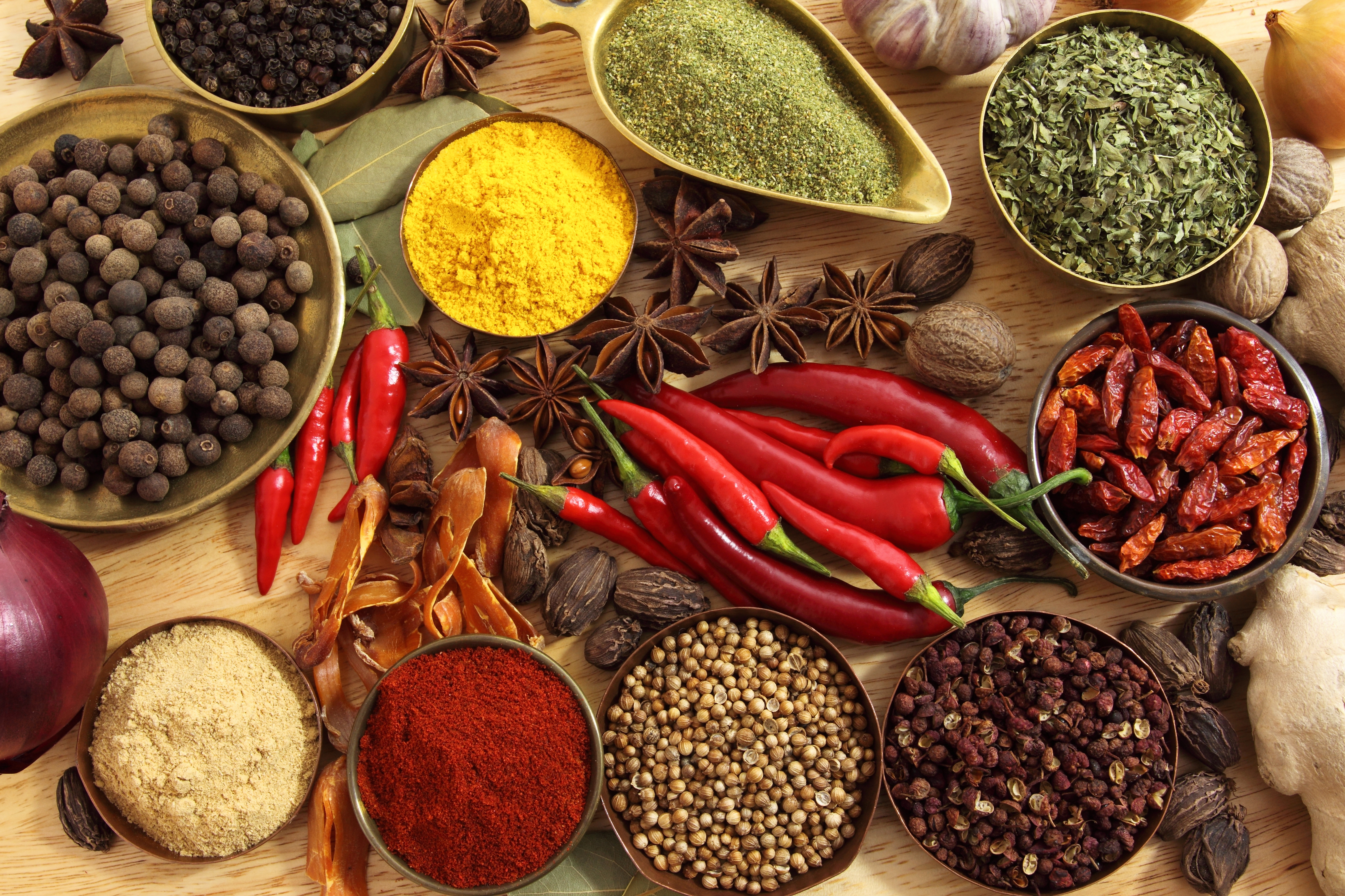 Table of herbs and spices