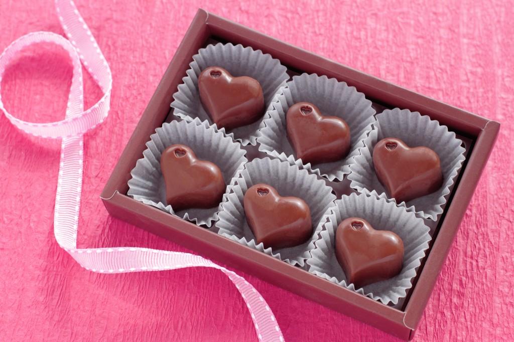 Valentine box of heart shaped chocolates
