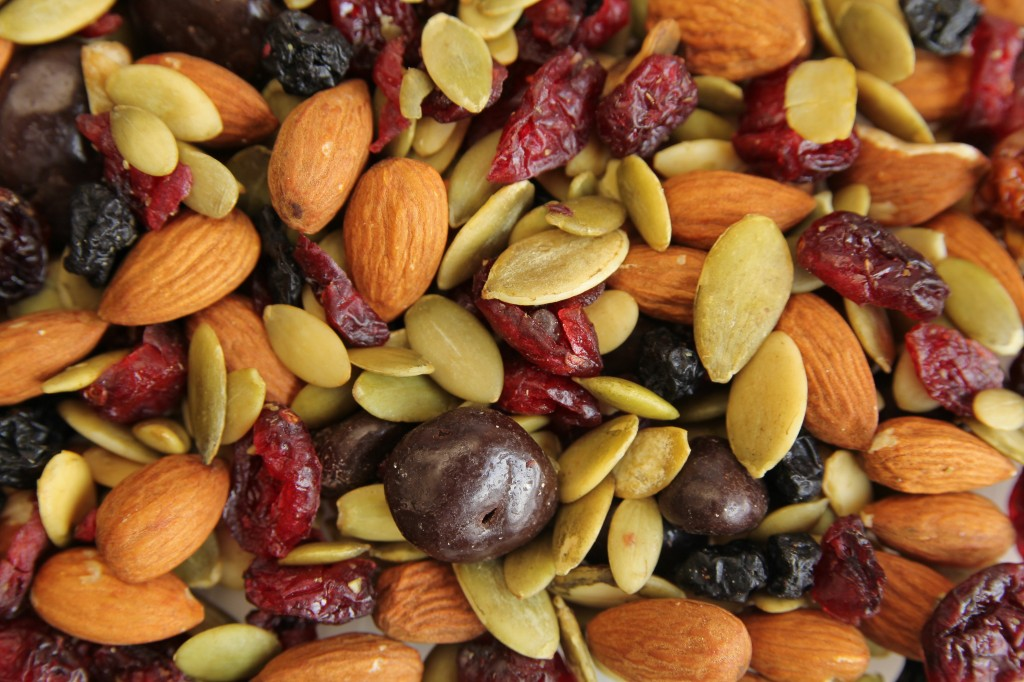 Close up of trail mix with nuts and seeds
