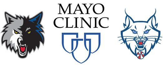 Mayo Clinic Shield with Minnesota Timberwolves and Lynx Logos