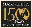 'Mayo 150 years serving humanity' 150th Sesquicentennial Logo
