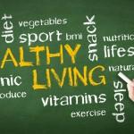 healthy living word cloud on chalkboard