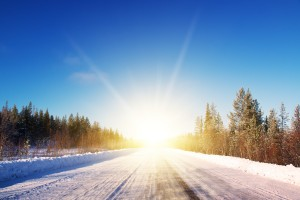 Winter sunshine on country road