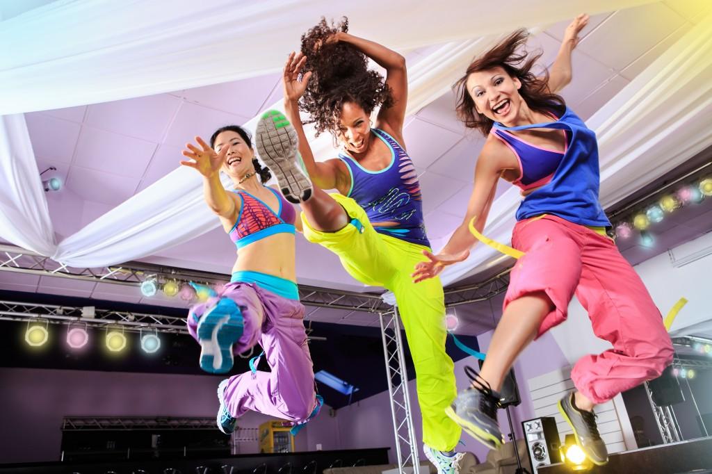 Women exercising to Zumba aerobics