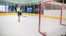Youth hockey player tests hockey performance solution program.
